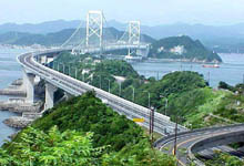 Japan: Naruto-Kaikyo bridge between the islands of Shikoku and Awajishima