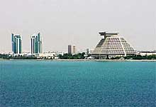 Qatar: The pyramid shaped Sheraton Hotel in Doha