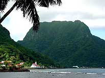 American Samoa: View from Pago Pago towards the 1'718ft. high Rainmaker Mountain (Pioa Mountain)