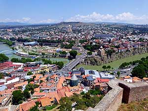 Georgia: View from Nariqala Fortress onto Tbilisi
