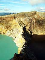 Indonesia: 2 of the 3 crater lakes of the Kelimutu Volcano on Flores in different colors