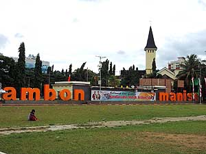 Ambon/Indonesia: 'Lapangan' (Main square) in Ambon City and Maranatha Church