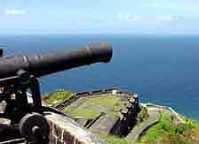 St. Kitts: A canon of 'Brimstone Hill' Fortress is watching over the coastline