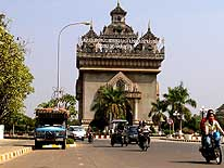 Laos: 'Patuxai' in Vientiane, the Laotian replica of the French 'Arc de Triomphe' in Paris