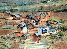 Madagascar/RN7: One of the countless highland villages between Antananarivo and Fianarantsoa