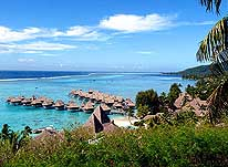 French Polynesia: Typical Southsea-Resort (Pacific) with Overwater-Bungalows (Sofitel 'Ia Ora' Moorea)