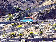 R�union: Driving up the 'Pas de Sables' on the forestry road from the Volcano 'Piton de la Fournaise' back towards 'Bourg Murat'