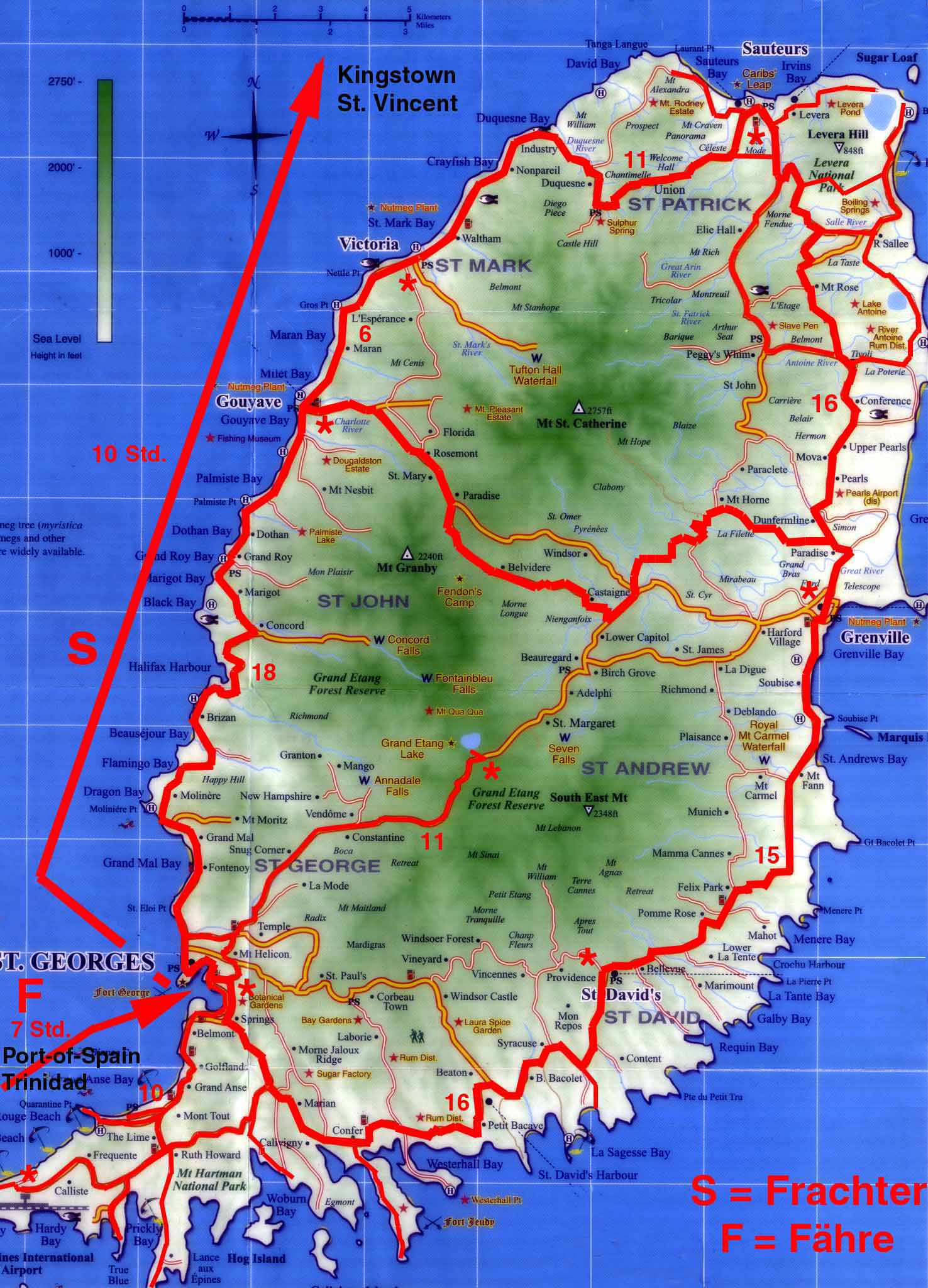 Topographic Map Of The Island Of Grenada Grenada On World ...