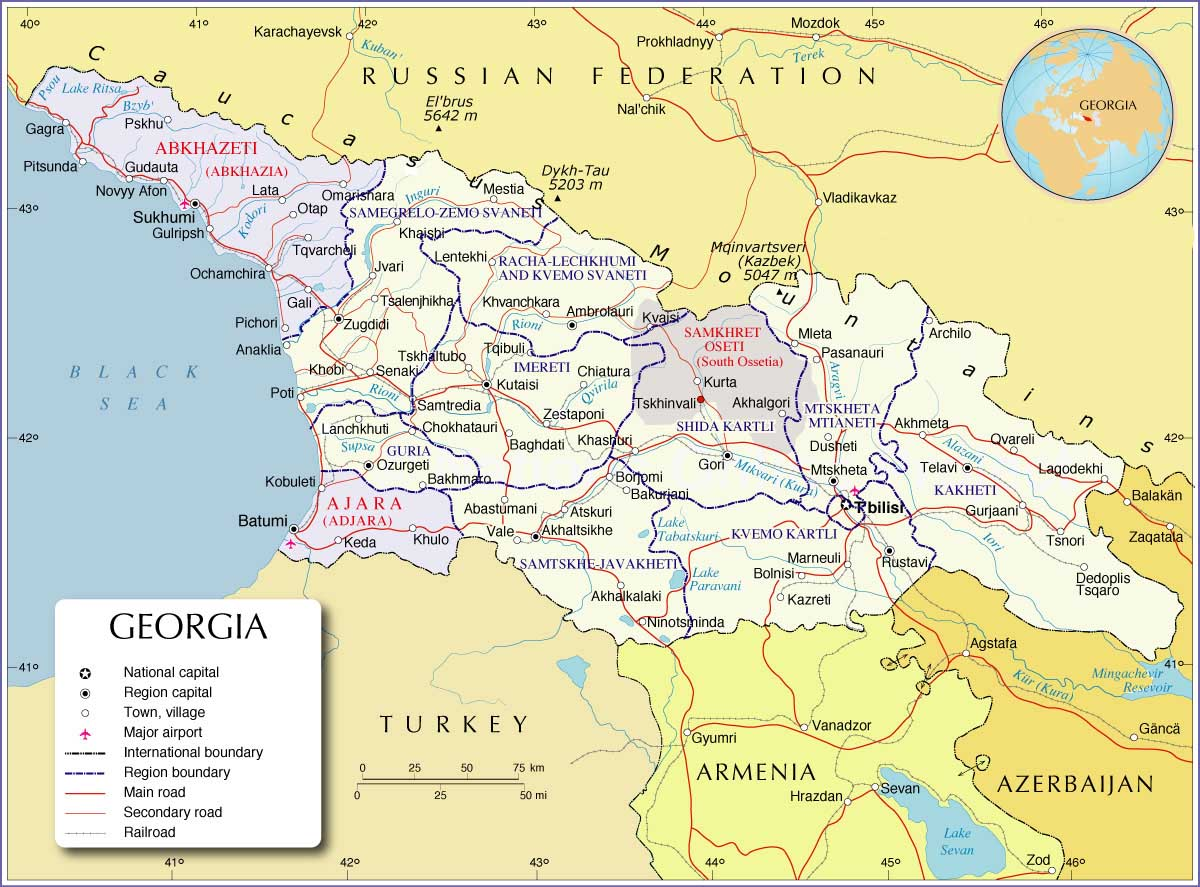 Worldrecordtour Asia Middle East Georgia Tbilisi Abkhazia - Georgia map lonely planet