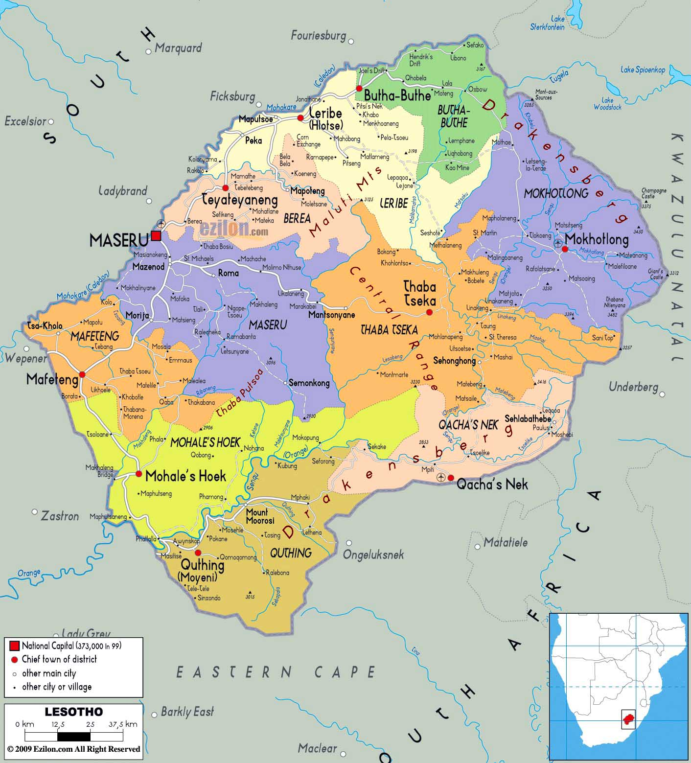 Worldrecordtour Africa Southern Africa Lesotho Maseru Kingdom - maseru map