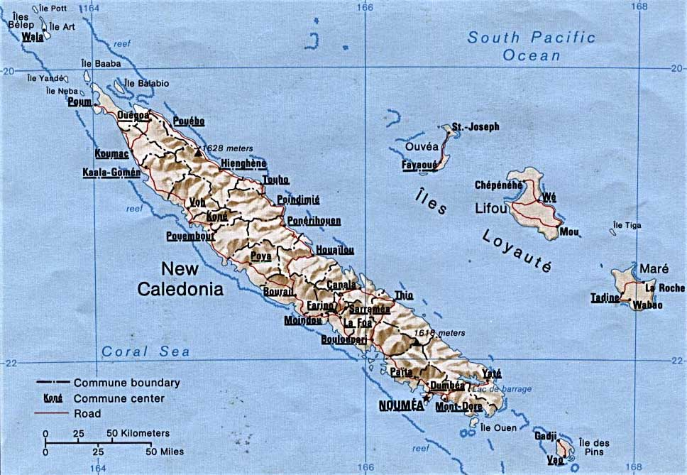 Kone New Caledonia  city images : New Caledonia Map