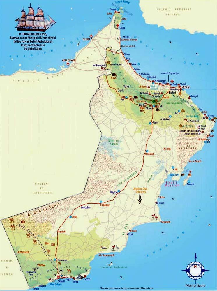 Karte Oman Salalah.Weltrekordreise Worldrecordtour Asien Mittlerer Osten