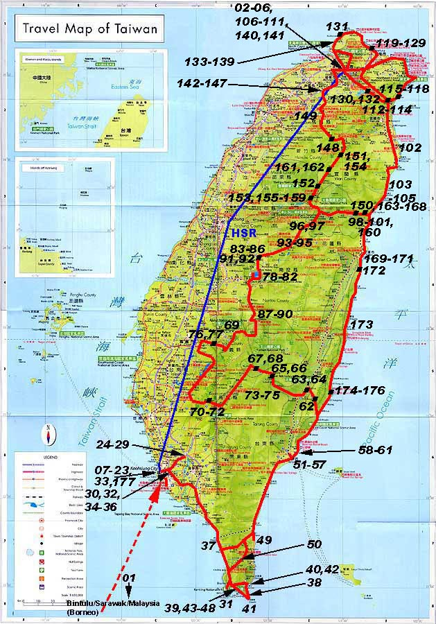 Taiwan Stra enkarte – Taiwan Tourist Attractions Map