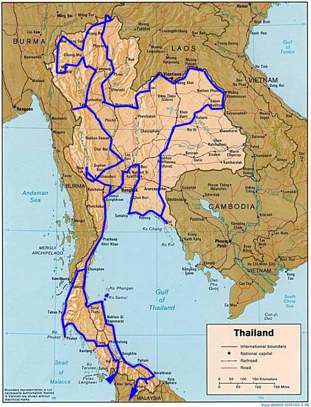 Thailand Karte.Weltrekordreise Asien Südostasien Thailand Bangkok Strand
