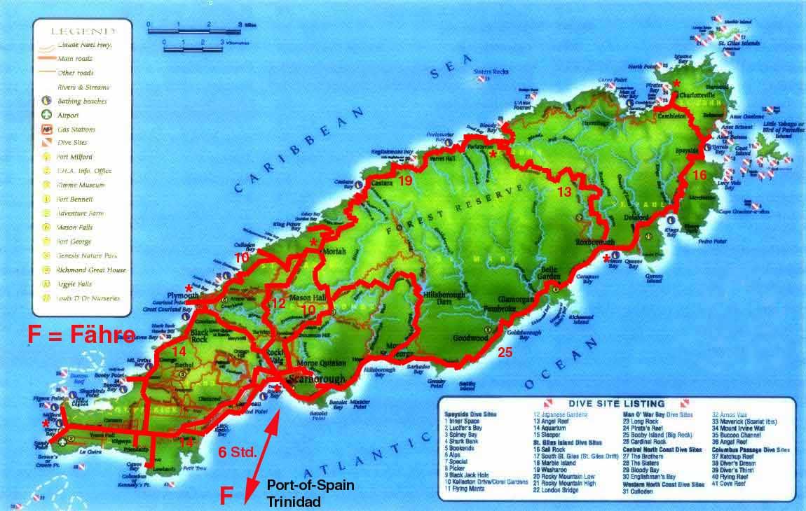 Worldrecordtour north america caribbean trinidad tobago port tobago map gumiabroncs Choice Image